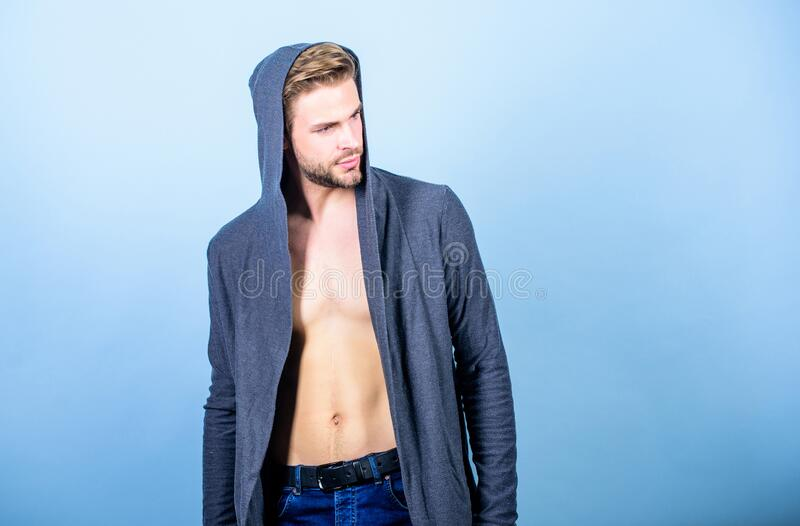 Staying fit and healthy. fitness dieting for good shape. Guy fashion model. sexy macho in denim style. perfect belly. Body of muscular man. male fashion and stock photo