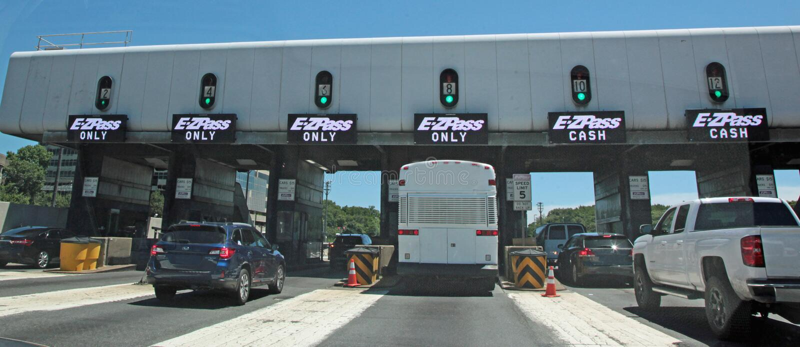 Stazione autostradale di E-ZPass a George Washington Bridge immagini stock