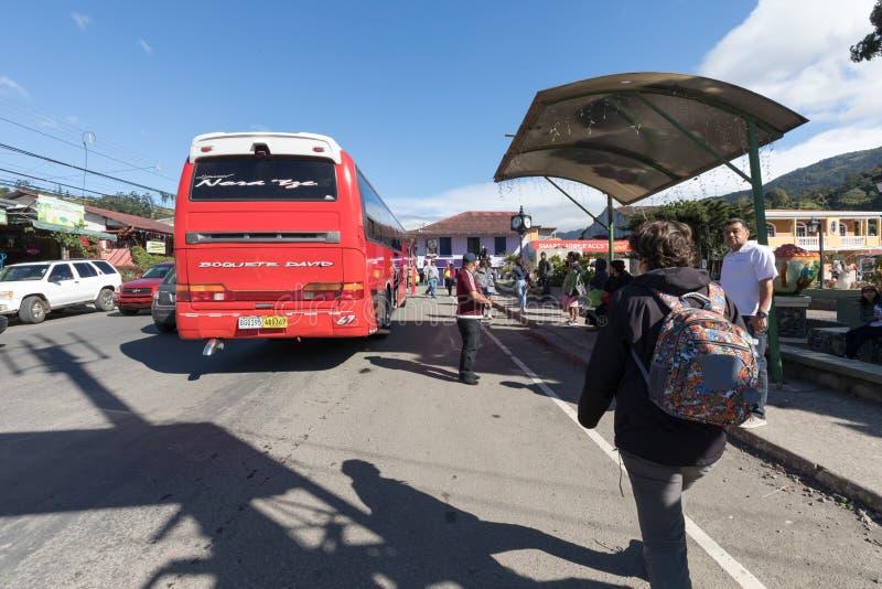 Stazione degli autobus di Boquete in un giorno soleggiato Panama fotografia stock libera da diritti