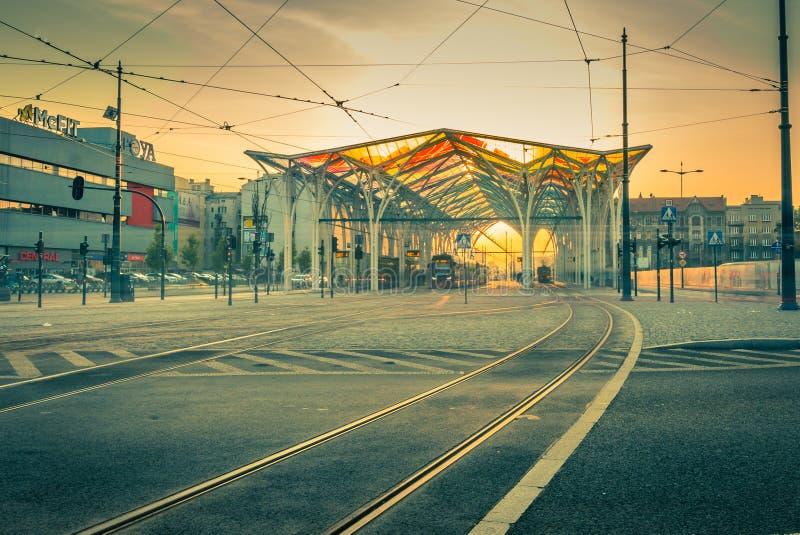 Stazione del tram del centro di Piotrkowska fotografia stock libera da diritti