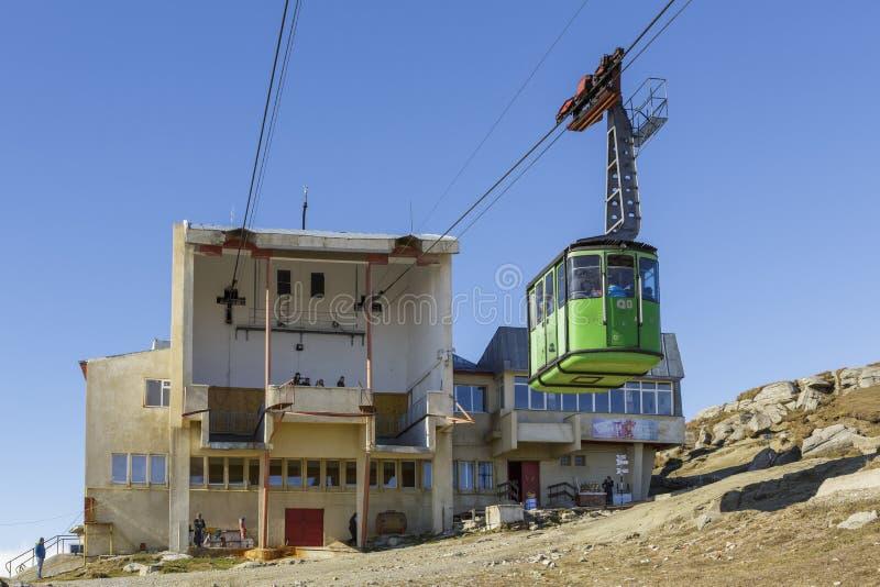 Stazione della cabina di funivia di Babele, Romania fotografia stock