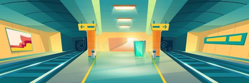 Stazione della metropolitana, binario vuoto del sottopassaggio, nel sottosuolo royalty illustrazione gratis