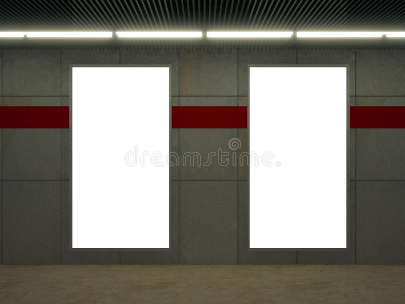 Stazione della metropolitana con la parete bianca delle mattonelle e lo spazio vuoto dell'annuncio immagini stock