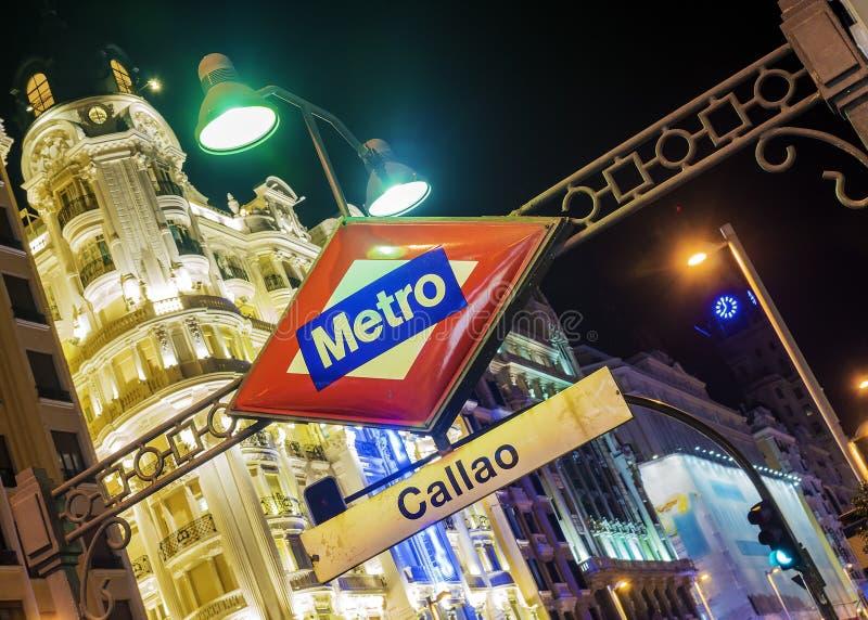 Stazione della metropolitana dell'insegna a Madrid, Spagna immagine stock libera da diritti