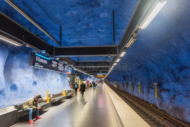 Stazione della metropolitana di T-Centralen della metropolitana di Stoccolma in Svezia fotografia stock libera da diritti