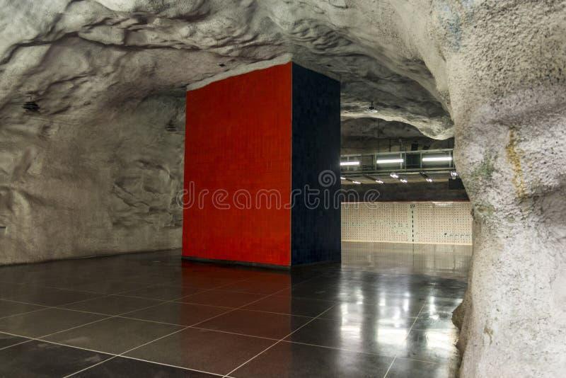Stazione della metropolitana di Universitetet, Stoccolma, Svezia immagine stock libera da diritti