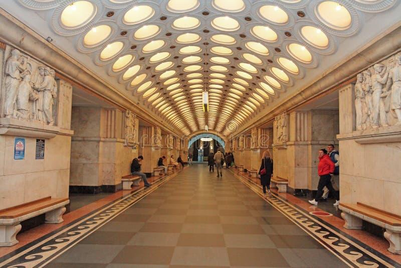 Stazione della metropolitana Elektrozavodskaya di Mosca fotografia stock libera da diritti