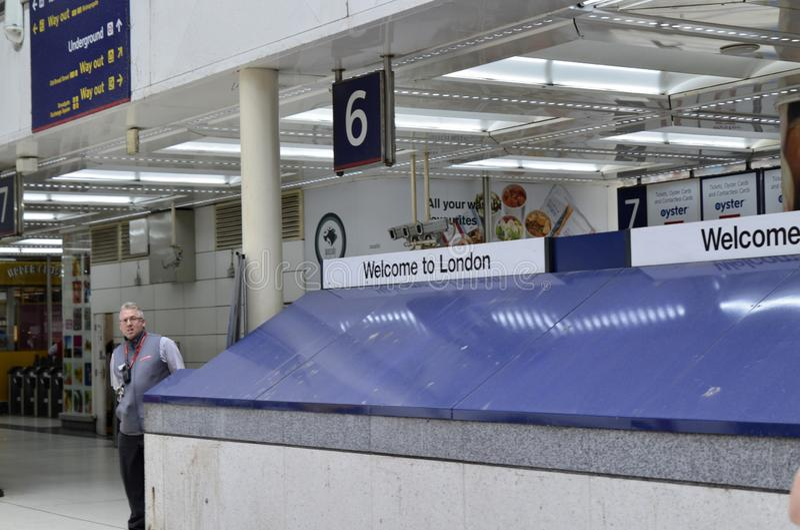 Stazione della via di Liverpool, Londra Regno Unito, il 14 giugno 2018 fotografia stock libera da diritti