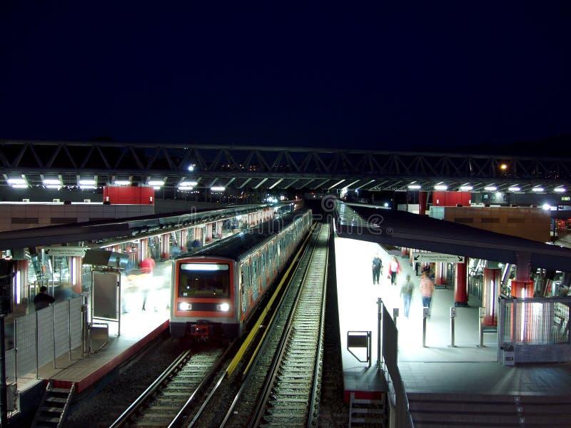 Stazione di metropolitana entro la notte, Grecia immagine stock