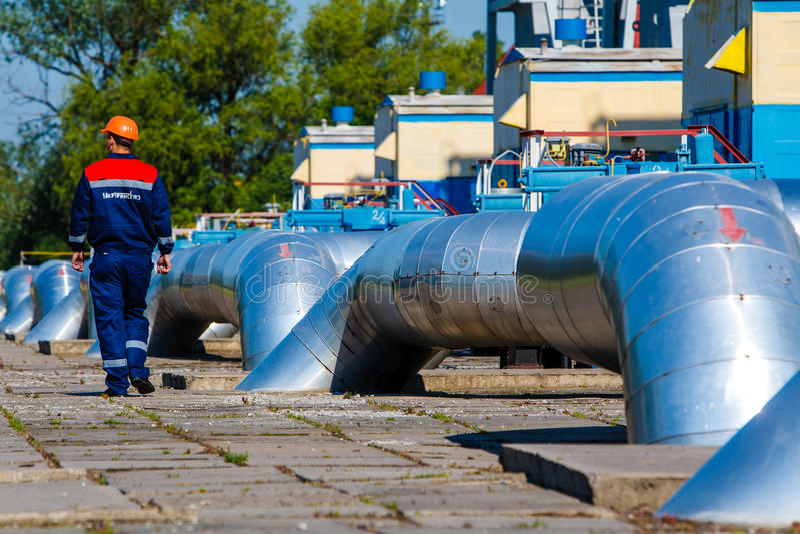 Stazione di misura del gas fotografie stock