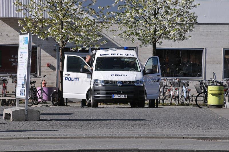 STAZIONE DI POLIZIA MOBILE DELLA POLIZIA DANESE A COPENHAGEN fotografia stock