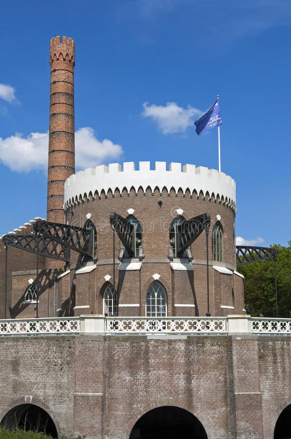 Stazione di pompaggio olandese antica Cruquius, Heemstede fotografie stock libere da diritti