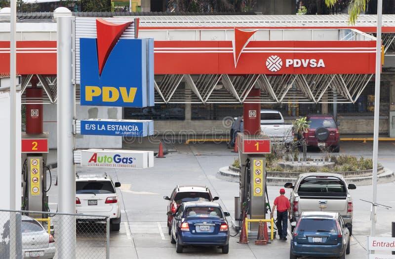 Stazione di servizio di PDV a Caracas, Venezuela fotografia stock libera da diritti