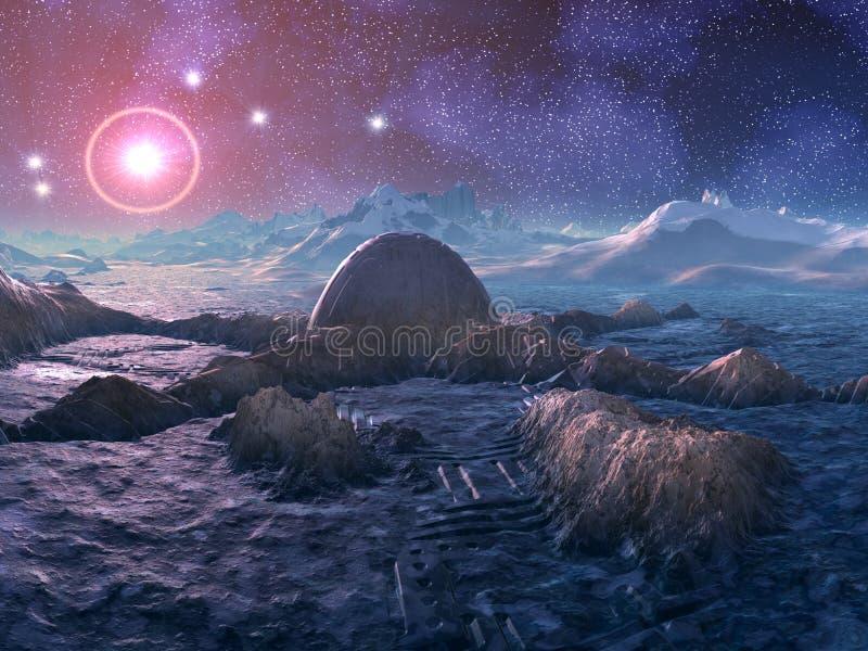 Stazione di spazio abbandonata sul pianeta straniero ostile illustrazione di stock
