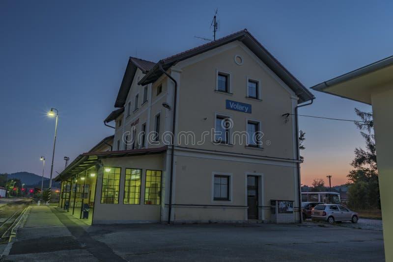 Stazione di Volary in Boemia del sud vicino al parco nazionale di Sumava fotografia stock