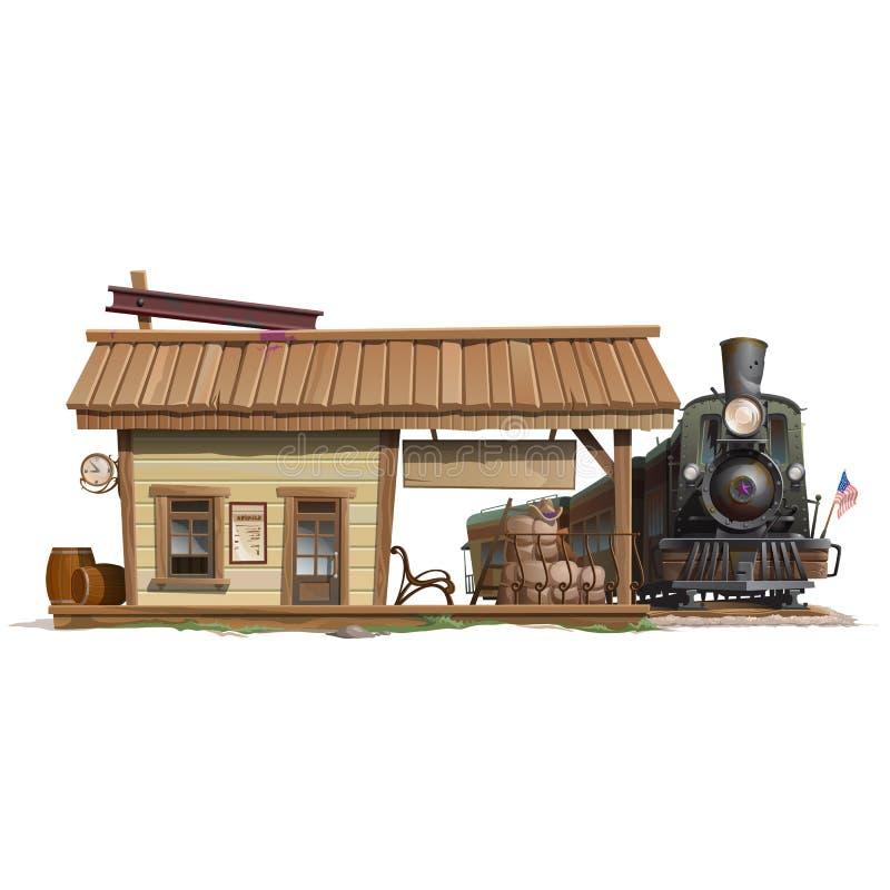 Stazione e treno d'annata in stile americano royalty illustrazione gratis