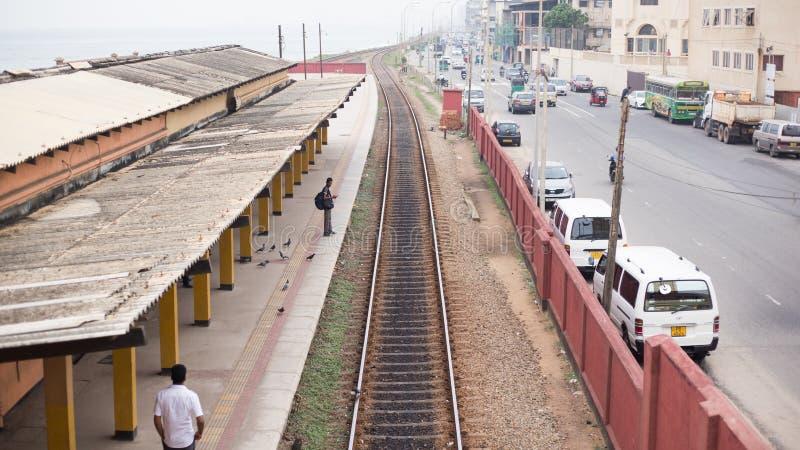 Stazione ferroviaria della città maestosa, città di Colombo, Sri Lanka immagine stock libera da diritti