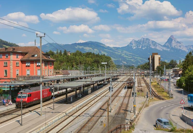 Stazione ferroviaria di Arth-Goldau in Svizzera fotografie stock libere da diritti