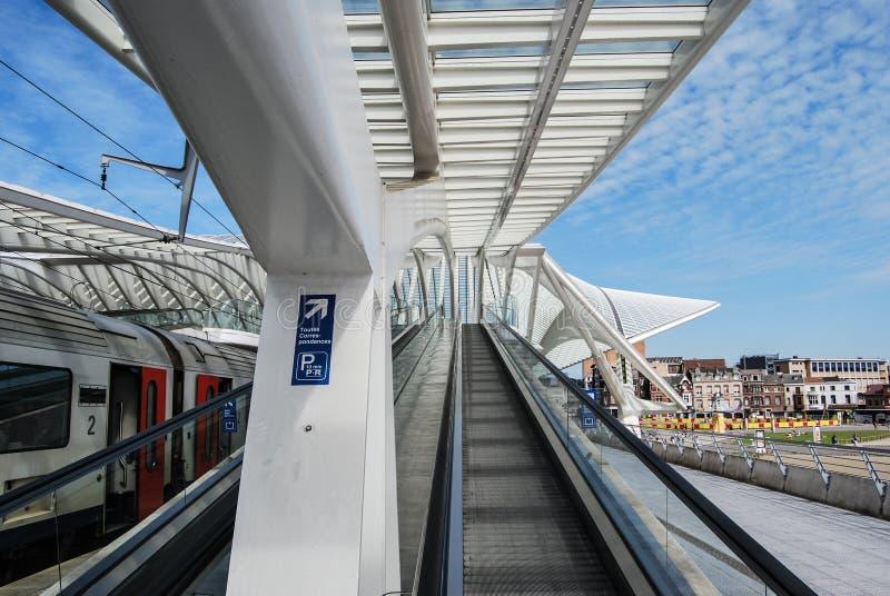 Stazione ferroviaria di Liège-Guillemins, Belgio fotografia stock libera da diritti