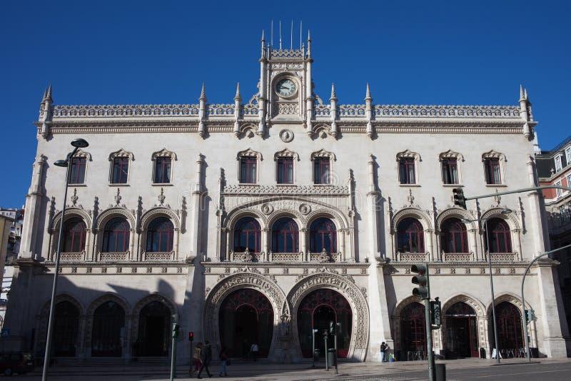 Stazione ferroviaria di Rossio a Lisbona fotografia stock libera da diritti