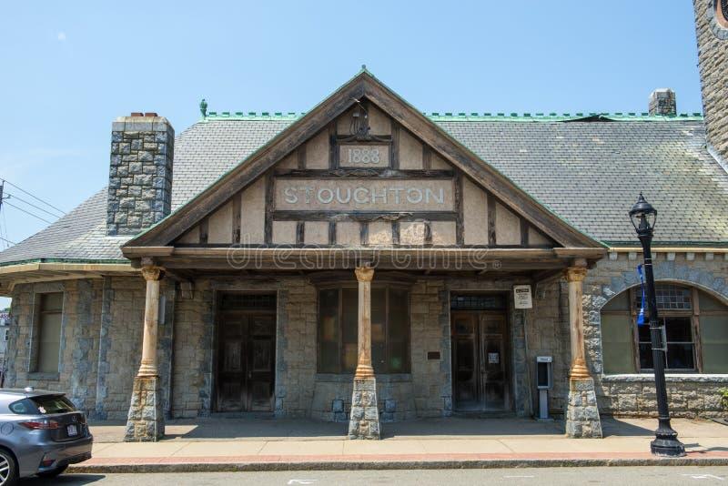 Stazione ferroviaria di Stoughton, Massachusetts, U.S.A. fotografie stock libere da diritti