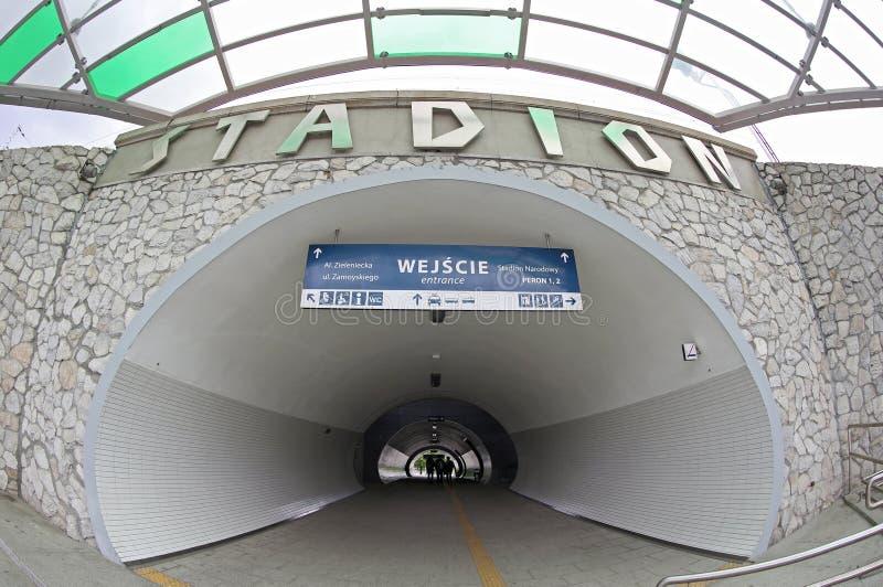 Stazione ferroviaria di Varsavia Stadion nella città di Varsavia, Polonia immagine stock