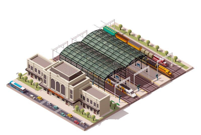 Stazione ferroviaria isometrica di vettore illustrazione vettoriale