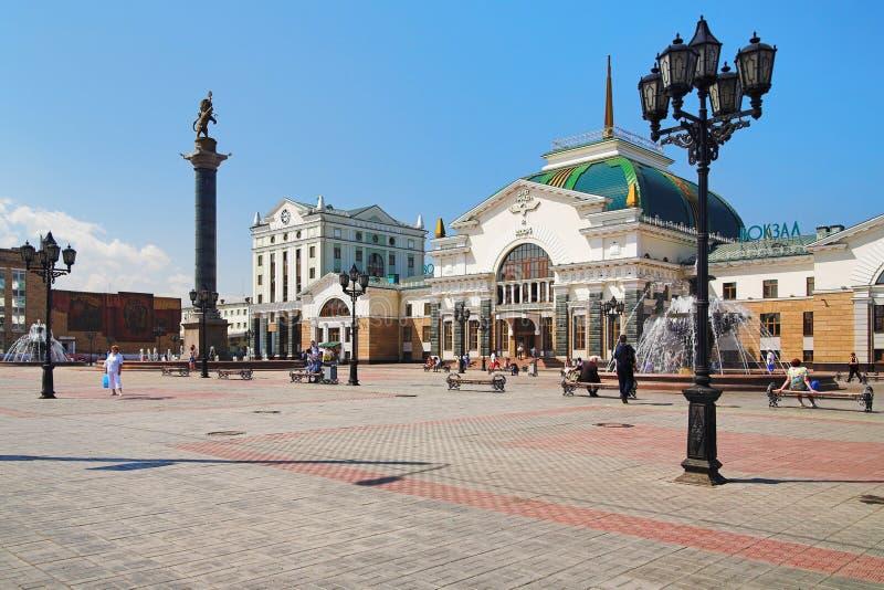 Stazione ferroviaria in Krasnoyarsk fotografie stock