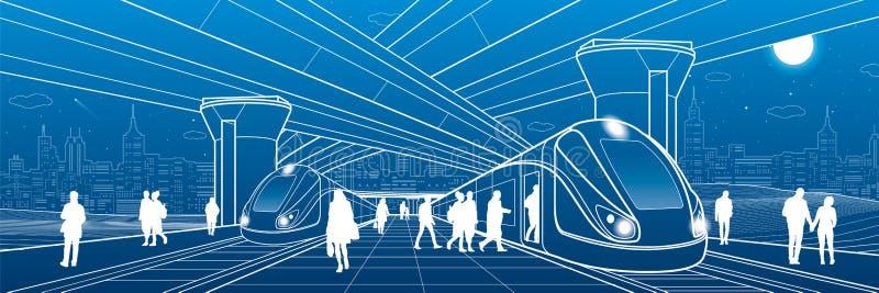 Stazione ferroviaria nell'ambito del passaggio I passeggeri si imbarcano sul treno Scena di vita urbana Infrastrutture di traspor illustrazione vettoriale