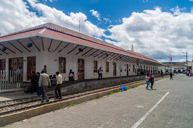 Stazione ferroviaria nella città di Ibarra, Ecuador immagini stock libere da diritti