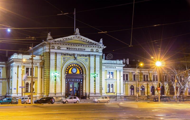 Stazione ferroviaria principale di Belgrado alla notte fotografia stock