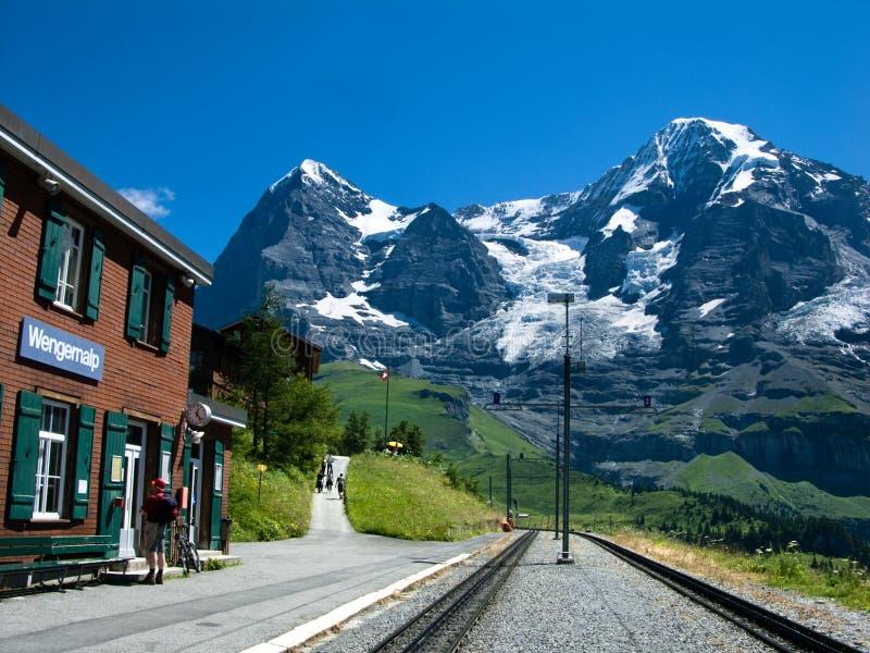 Stazione ferroviaria su Eiger fotografia stock libera da diritti