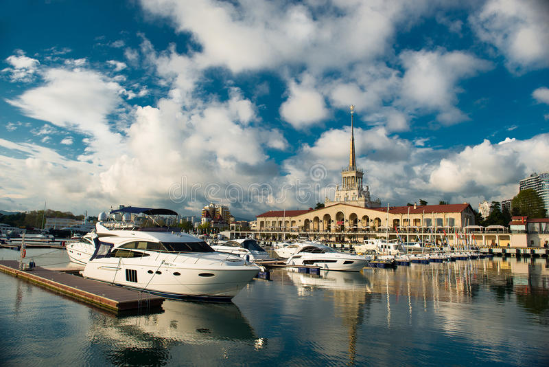 Stazione marina in Soci fotografia stock libera da diritti