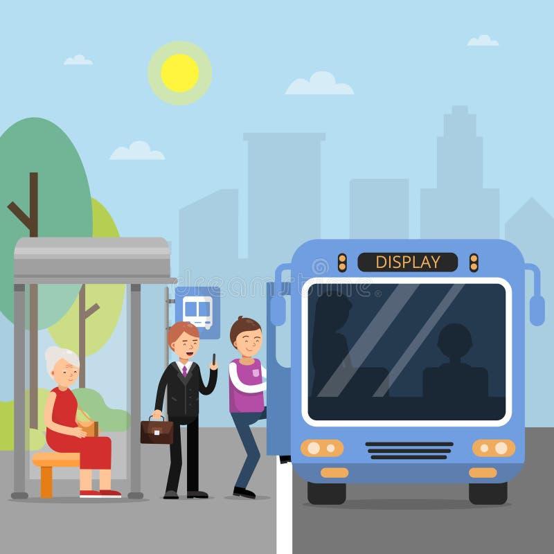 Stazione pubblica di autobus con i passeggeri che si siedono nel bus royalty illustrazione gratis