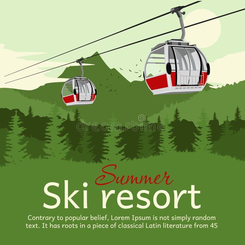 Stazione sciistica con l'ascensore e le montagne di sci della gondola della teleferica di estate con copyspace per testo royalty illustrazione gratis