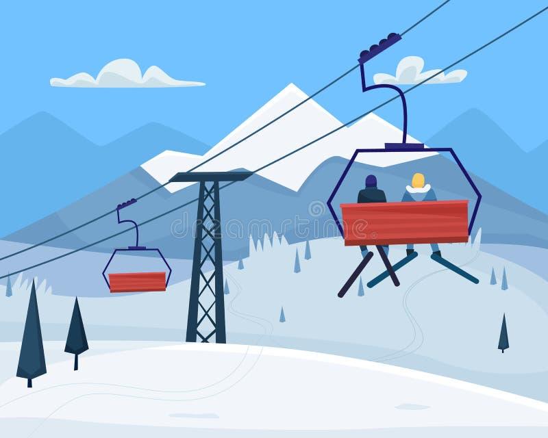 Stazione sciistica con la gente, l'ascensore ed il paesaggio delle montagne di inverno illustrazione vettoriale