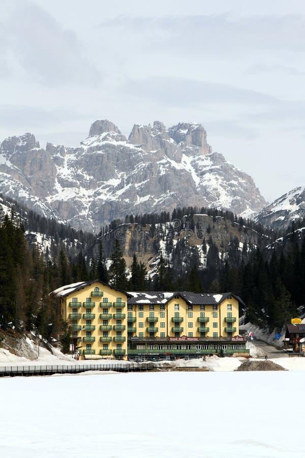 Stazione sciistica di inverno in Italia fotografia stock libera da diritti