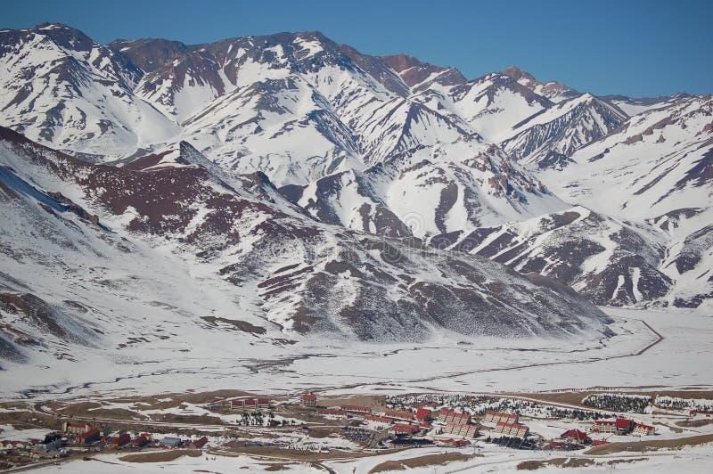 Stazione sciistica di lenas di Las in Argentina fotografia stock libera da diritti