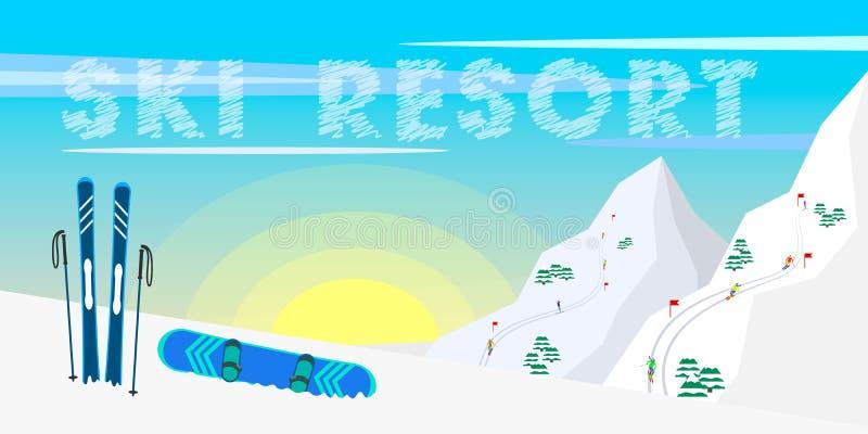 Stazione sciistica di progettazione dell'insegna di web di inverno, attrezzature dello sci, abeti, montagne e fondo del sole illustrazione vettoriale