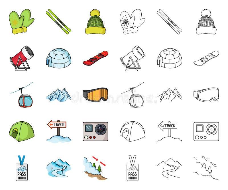 Stazione sciistica e fumetto dell'attrezzatura, icone del profilo nella raccolta stabilita per progettazione Simbolo di vettore d illustrazione di stock