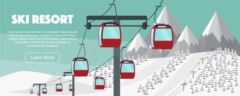 Stazione sciistica, illustrazione piana di vettore dell'ascensore Alpi, abeti, moun illustrazione vettoriale