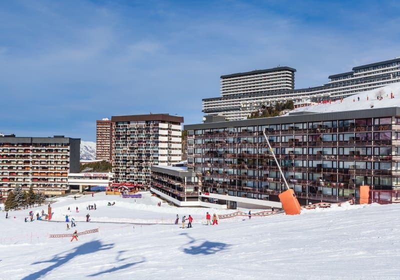 Stazione sciistica Val Thorens Villaggio di Les Menuires immagine stock