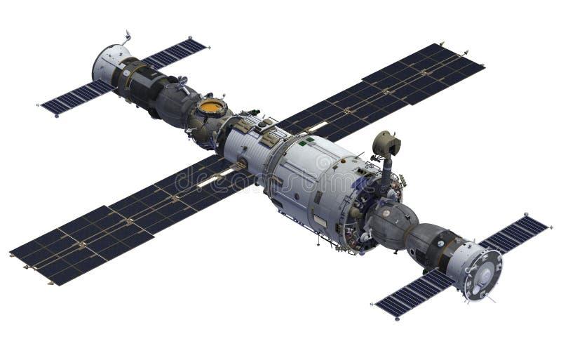 Stazione spaziale e veicoli spaziali illustrazione di stock