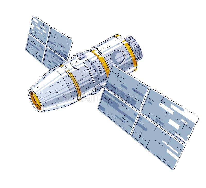 Stazione spaziale iss che galleggia nell'assenza di peso nello spazio aperto, spac illustrazione di stock