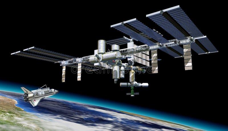 Stazione spaziale in orbita intorno a terra, con la navetta. illustrazione di stock