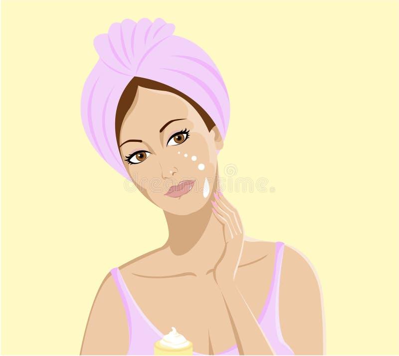 Stazione termale & skincare. La bella ragazza applica la crema sul fronte illustrazione di stock