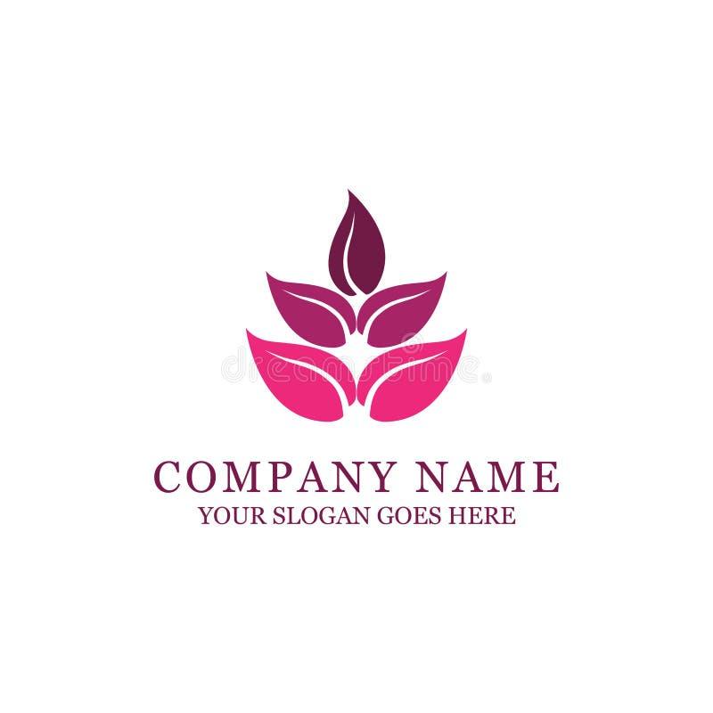 Stazione termale e progettazione di logo di stile di modo con il fiore astratto royalty illustrazione gratis