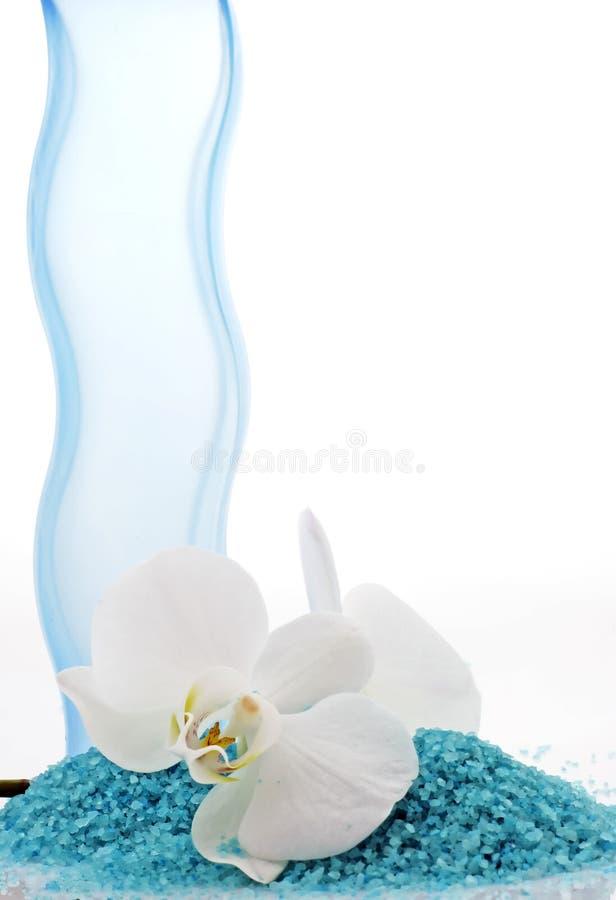 Stazione termale - sale ed orchidea di bagno fotografie stock libere da diritti