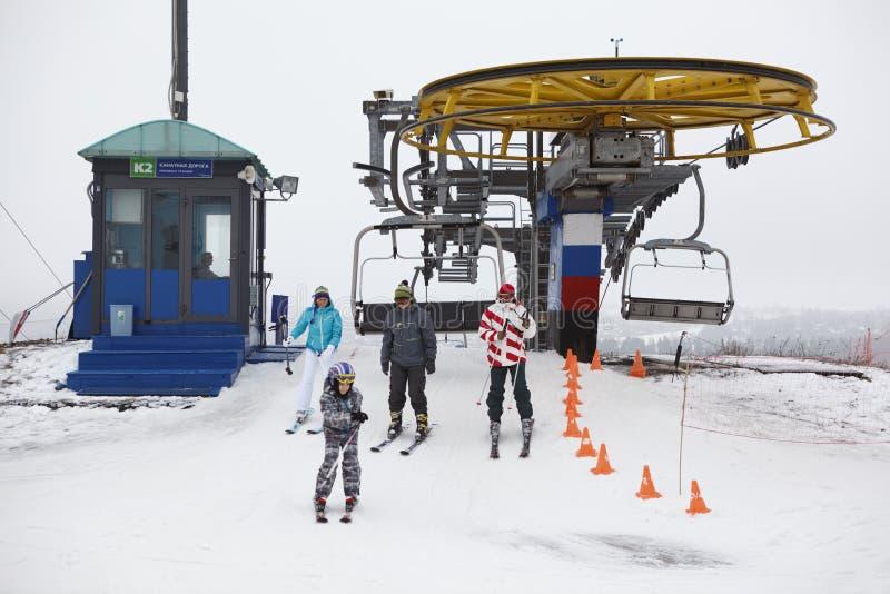 Stazioni sciistiche russe Sorochany nella stagione di inverno immagine stock libera da diritti