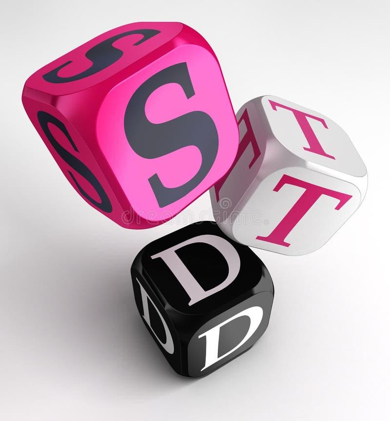 STD (seksueel - overgebrachte ziekten) teken op roze, wit en blac royalty-vrije illustratie